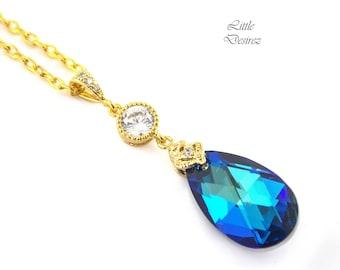 Blue Bridal Necklace Bermuda Blue Swarovski Necklace Blue Necklace Bridesmaid Gift Peacock Color Teal Green Blue Wedding Jewelry BB32N