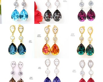 Select Your Color- Swarovski Crystal Earrings Bridesmaid Earrings Bridal Earrings Wedding Earrings Cubic Zirconia Dangle Earrings ALL31PC
