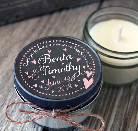 Set of 12 - 4 oz Wedding Favor Candle - Rustic Wedding Favors // Chalkboard Floating Hearts Wedding Favors