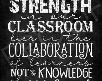 Chalkboard Style Quote Educator Collaboration of Learners