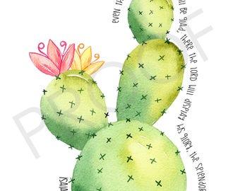 Scripture Art Isaiah 35:1-2 watercolor cactus