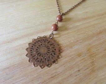 Antiqued Copper Sunburst and Goldstone Necklace