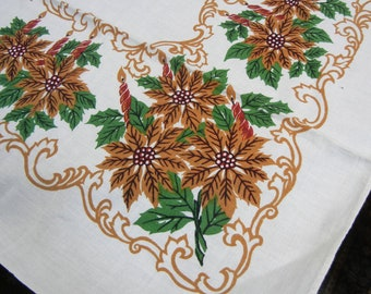 Vintage Christmas tablecloth - midcentury - 1960s - poinsettias and candles
