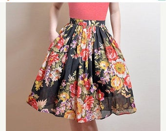 AUGUST 20 % OFF BLACK Floral Skirt, Midi Cotton Skirt With Pockets