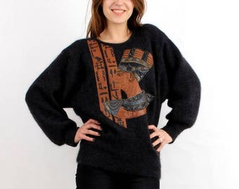 SALE Vintage Sweater / Antique Sweater / Egypt Sweater / Pharaoh Sweater / African Sweater / Grey Sweater / Applique Sweater / Woman Sweater