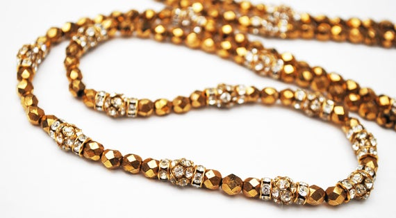 Gold glass and Rhinestone bead necklace - glamour golden silver bling - 46 inch long Flapper necklace