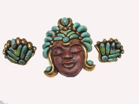Tribal face brooch and earring set - Boho - Turquoise brown Ceramic pin and screw back earrings