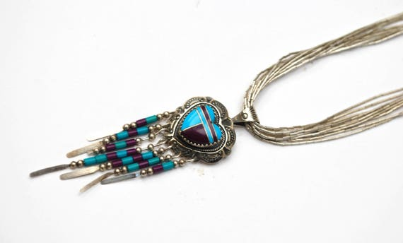 Sterling heart  Inlay  Necklace - Liquid silver multi strand  -Turquoise - purple gemstone - silvependant - Southwestern -