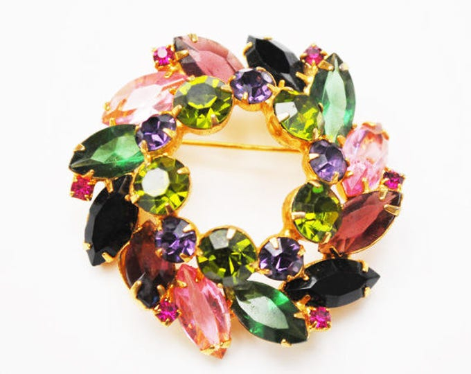 Juliana Brooch - spring Wreath brooch -Book Piece - Colorful rhinestone - Open back gold setting pin - DeLizza & Elster