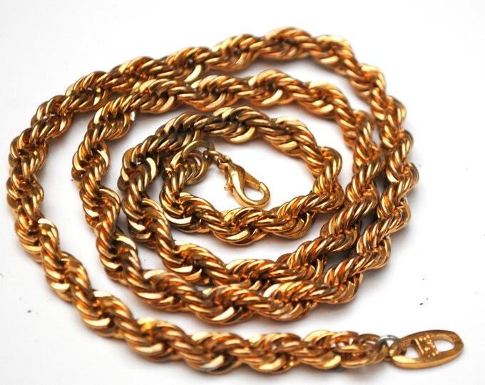 Vintage Chunky Gold Chain link - 18 kt gp - Twisted chain necklace - Mid century - 24 inches