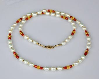 Quality Oval Pearl Strand w Red Carnelians and 22K Gold Vermeil Beads, White Pearl Necklace, Multi Gem Necklace, Real Pearls, Fine Jewelry