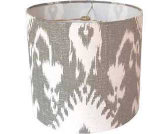 Gray Ikat Lamp Shade,  Linen Lampshade, Fabric Lamp Shades, Grey Lamp Shade, Table Lamp Shade, Custom Lamp Shades, Multiple Sizes