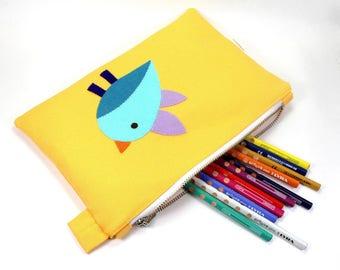 zipper pouch | pencil pouch  | organic canvas pencil case | pencil case  | birdy pouch  | school supply | organizer | organic pouch