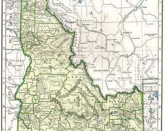 Idaho State Map Etsy - Map of idaho state