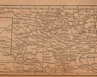 Antique INDIAN Territory Map 1886 Vintage Oklahoma Map Gallery