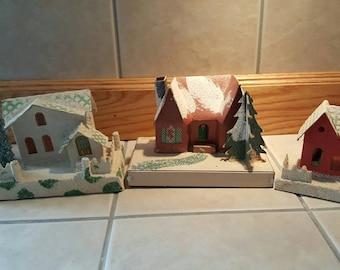 Vintage cardboard Christmas houses Christmas Village