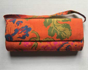 Vintage Orange Floral Purse | Structured Purse | Curved Envelope Clutch Purse