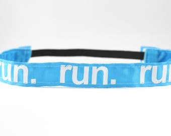 Blue Running Headband, Running Accessory, Gifts for Runners, Marathon Headband, Team Gift, Fitness Accessory, Nonslip Headband for Women