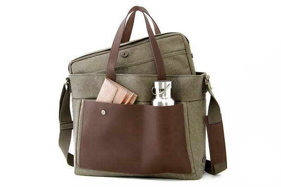 "LOFT Diaper Tote Bag / 13"" Laptop Tote Bag/ Green Canvas"