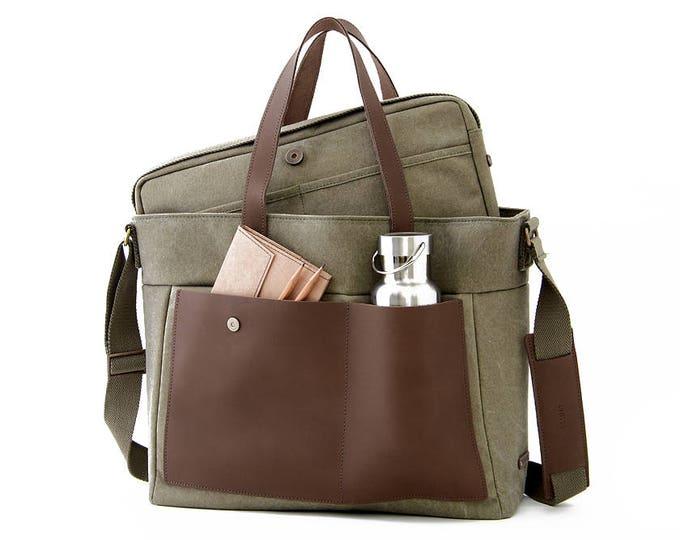 "LOFT Diaper Tote Bag / 13"" Laptop Tote Bag/ Green Canvas"