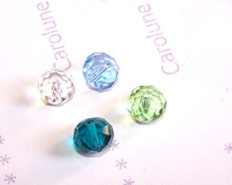 4 glass for Feng Shui colors pendant 10 mm blue faceted beads