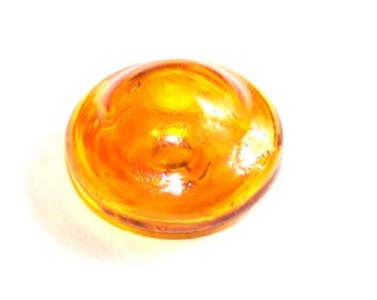 A stained glass SAUCER 20 mm TRANSPARENT yellow glass globe