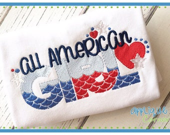 50% Off INSTANT DOWNLOAD All American Girl 4160 4th of July applique design in digital format for embroidery machine by Applique Corner