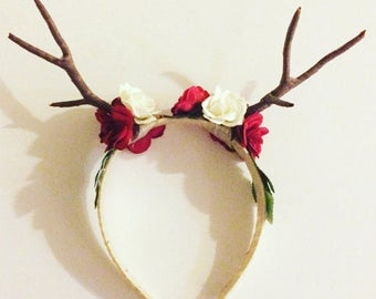 on sale rudolph red nosed reindeer antlers deer doe flower headband roses cosplay deer