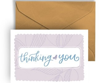 """Printable Greeting Card """"Thinking of You""""  Hand Lettering Typography Sympathy Best Wishes Sorry"""