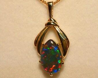 Opal Pendant 14ct Gold 13 x 8mm Tear Drop Triplet  Item 070765.