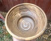 Handmade wet Shaving Scuttle Bowl/mug with recessed shaving Puck holder, Sandstone Brown