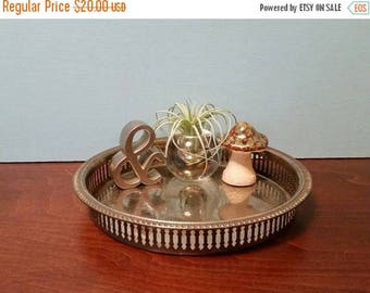"""SALE - Round Silver Plated Vanity Tray - 9.25"""""""