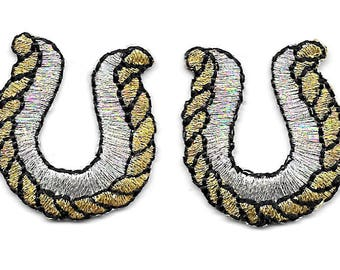 Horseshoe - Horseshoes - Western - Rodeo - Cowboy - Cowgirl - Embroidered Iron On Patches - SET OF 2