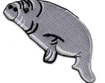 """Manatee - Sea cow - Gray - Embroidered Iron On Applique Patch - 4""""W - Left"""