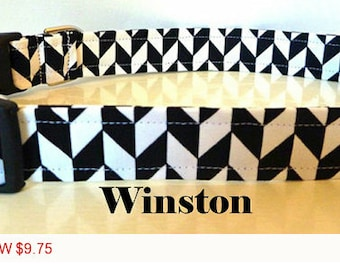 "Sale - 50% Off - Herringbone Dog Collar - Black & White 'Winston"" - Free Colored Buckles"