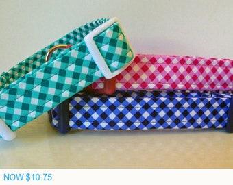 "Sale - 50% Off Dog Collar - Preppy Unisex Turquoise, Navy & Hot Pink Plaid Dog Collar ""Preppy Plaid"" - Fre"