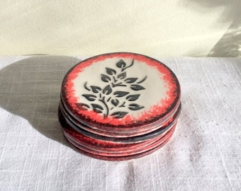 17% OFF SALE Art Tile Coasters/ 6 Handmade Coasters/Round Floral Coaster/Porcelain Coasters/Artist Signed DAIR/Black Leaves With Red & Purpl