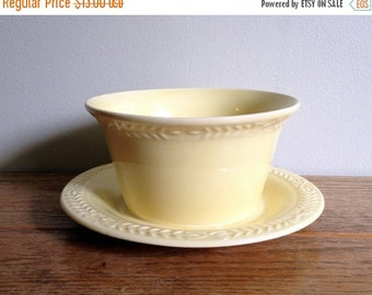 "17% OFF SALE Universal Cambridge Laurella Oven Ware Bowl With Drip Plate Saucer Lemon Yellow Bowl  3"" tall x 5"" wide Made In USA Mid Century"