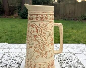 17% OFF SALE Antique Weller Vase /Weller Clinton Ivory/ Weller Ivory Pitcher/Clinton Ivory Pitcher/Weller Art Pottery/10 in Weller Tankard/W