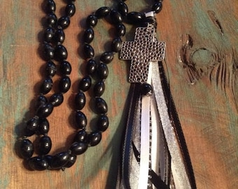 15% OFF Western knotted black agate and ribbon tassel necklace #NK36