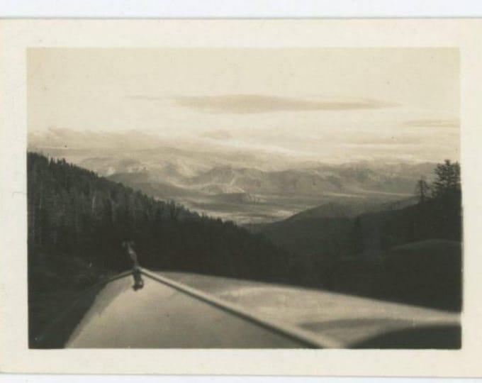 Thru Windshield View of Car Hood, Mountains c1930s Vintage Mini-Photo Snapshot (77592)