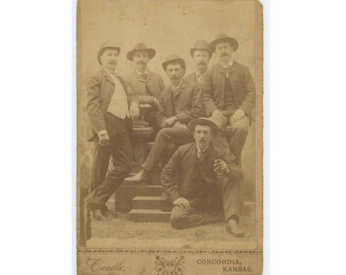 Etienne Guenette & Brothers, Concordia, KS 1868. Candle Studio: Antique Cabinet Card Photo (78596)