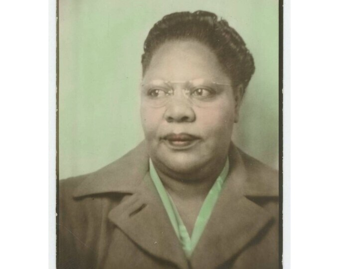 Vintage Tinted Arcade Photo Booth Enlargement, c1940s: African American Woman in Overcoat (710612)