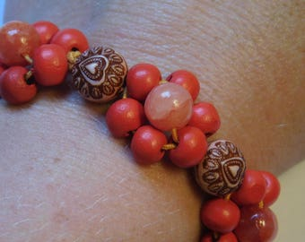 Wood Red Daisy Chain Bracelet