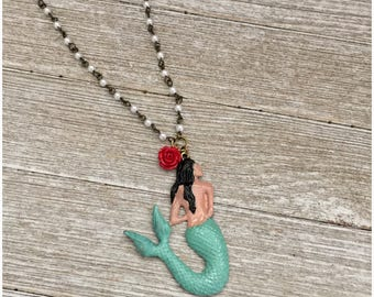La Sirena Mermaid Day of the Dead Necklace Pendant