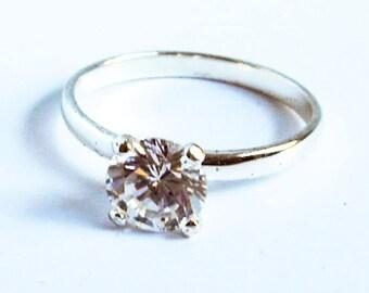 Vintage CZ Engagement Ring   Sterling Silver  Size 7 1/2      3.90 Carat