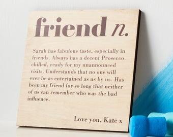 Gift for friend - friendship print - best friend gift - friend birthday - best friend - birch wood - personalised friend - wooden plaque