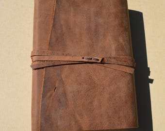 Engraved Distressed Leather Bound Journal Cowboy Adventure Notebook Ready to Ship Art Sketchbook Outdoor Leather Field Notebook (682B)
