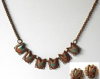 Vintage Choker Necklace Earrings Set Demi Parure Copper Turquoise Blue Confetti Thermoset.