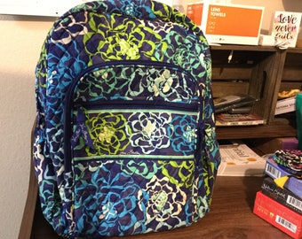 New Vera Bradley backback in blue and greens.